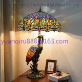 "Tiffany 14"" Floral & Dragonfly 14"" Table Lamp with Lit Base G14038797/A1542gl14K1017 (Dia. 35*57cm) 2020 New Hot Selling Tiffany Shape Vintage Brass Table Lamp"