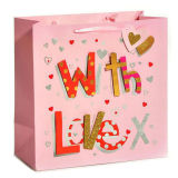 Free Sample Custom Logo Luxury Pink Cardboard Paper Bag with Ribbon Handle