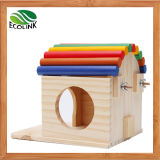 Colorful Hedgehogs Cage Hamster Cage Guinea Pig Cage Rabbit Hole Wooden Toy House Observation Deck Toys