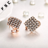 Hot Selling Fashion Rose Gold Plated Crystal Rhombus Stud Earrings