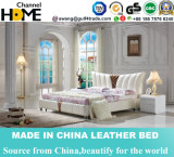 Fashion European Design White Genuine Leather Bed for Bedroom (HC575)