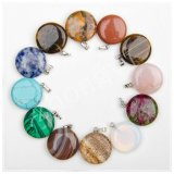 Assorted Natural Gem Stone Mulit Color Point Round Charms Pendants