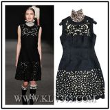 European Designer Women Fashion Hollow Embroider Party Dress