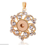 Fashion Flower Pendants Rose Gold Rhinestone Jewelry Accessories Snap Buttons