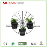 Metal Wheel with Three Planter Pots Wall Plaque for Garden and Wall Decoration