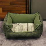 SGS Verified Pet Product Manufacturer Fake Linen and Leather Cat Dog Bed