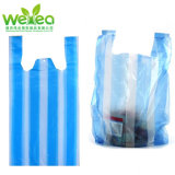 Cheap Biodegradable White&Blue Stripped T Shirt Bags Plastic Products