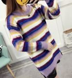 Striped Loose Sleeve Long Knitted Sweater Woolen (BTQ225)