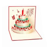 3D Pop up Birthday Cards Creative Birthday Greeting Card (Red)