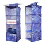 Foldable Household Hanging Closet Storage Organizer with Jeans Printing