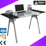 Modern Home Office Furniture Glass Computer Table with Metal Legs