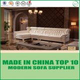 Solid Wood European Sectional Italian Leather Sofa with Chaise