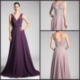 Sleeveless Chiffon Mother of The Bride Groom Dress Lace V-Neck Party Prom Dress M153
