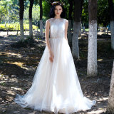 New Arrival Beaded Lace A Line Beach Wedding Dress Evening Prom Gown Qjm5537