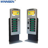 Large Panel LCD with Advertising Screen Public Cell Phone Charging Station Kiosk with Barcode Lock