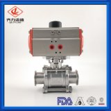 Stainless Steel 3-Piece Food Grade Full Bore Encapsulate PTFE Pneumatic Ball Valves