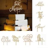 Just Married Wooden Cake Toppers Party Cake Decorating Wedding Favors