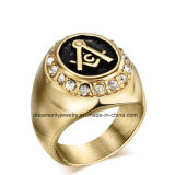 Men Masonic Ring 18k Gold Plated 316L Stainless Steel with CZ Crystal Vintage Master Gold Biker