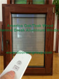 Double Glazing Tilt & Turn Window with Imported Hardware, Aluminum Clad Solid Oak Wood Casement Window with Blinds Inside