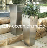 Fo-9010 Stainless Steel Tapered Tall Flower Pot for Hotel Decorate
