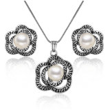 Retro Style Greek Key Rose Flower Jewelry Enamel Pearl Jewelry Set