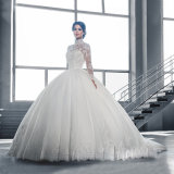 Long Sleeves Bridal Ball Gown Muslim Choker Wedding Dress Wz2016