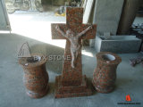 Maple Red Granite Jesus Cross Tombstone
