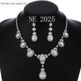 "Teardrops Set Zirconia Crystals Pendant Necklace 18"" Earrings 18 CT White Gold Plated for Women"