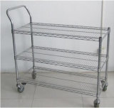 2015 Hot Sell 36X18 Inch 3 Layer Chrome Single Hand Push Trolley with Wheels (YB-WS048)