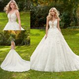 3D Flower Beaded Ballgown Bridal Evening Prom Gown Wedding Dress (8128)