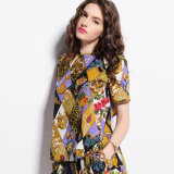 Fashion Print Open Back Short Sleeve Designer Lady Top