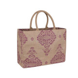 Customized Hand-Stitched Jute Recyclable Packing Linen Promotion Travel Gift Tote Bag