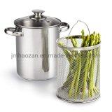 4 Quart 3-Piece Vegetable Asparagus Steamer Pot, Stainless Steel