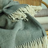 Herringbone Pattern Merion Wool Throw Blanket