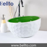 Handmade green and white ceramic basin with golf design (C1071)