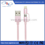 2-in-1 Lightning and Micro USB Cable Nylon Braided Charging/Sync Data for Mobile Phone