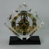 Cube Crystal Clock with Black Base Decoration