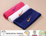 100% Cotton Logo Embroidery Sport Gym Towel with Satinborder