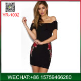 Fashion Design Embroidery Sexy off Shoulder Party Woman Dress