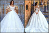 V-Neckline Bridal Dress Lace Tulle 3/4 Sleeves Plus Size Wedding Dresses F60