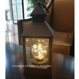 LED Lantern with Round Candle Lamp for Home Decoration and Garden Ornaments