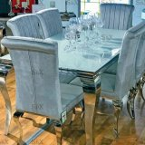 2018 Full Stainless Steel Dining Chair Banquet Chair and Table Home Furniture with Glass Price Sj802