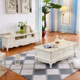 Living Room Pine Furniture Wooden White Cheap European Style Marble Top Coffee Table Set