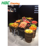 Shopping Mall Vegetable and Fruit Display Shelf with Rattan Basket