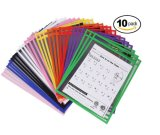 Reusable Oversized 10 X 13 Inches Mixed Colors Dry Erase Pockets for Adults and Children, Ideal to Use at School or at Work