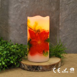 Spring Season Flower Decorative Pillar Candles Real Wax LED Flameless Flower Candles