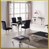 Modern French Classic Dining Room Black White Glass Chrome Silver Louis Dining Table Stainless Steel and Velvet Fabric Dining Chairs Silver