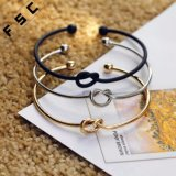 New Design Gold Plated Knot Simple Copper Heart Bangle Bracelet