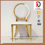 Fashion White Leather Stainless Steel Round Back Chair for Dining