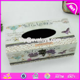 Wholesale Customize Home Decoration Wooden White Tissue Box Cover W18A007